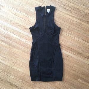 Bebe Mesh Insert Black Mini Dress- XS